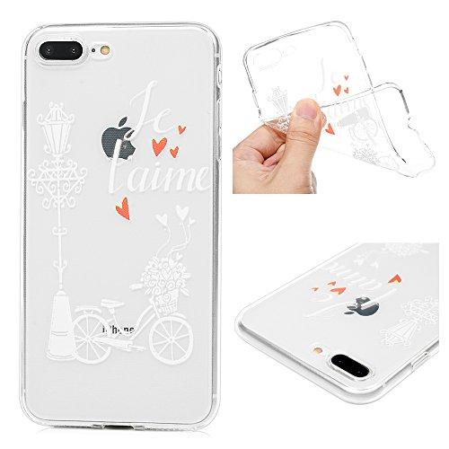 Edauto iPhone 7 Plus Hülle Silikon iPhone 8 Plus Case Ultra Dünn Handyhülle Schutzhülle Transparent Handyschale Handytasche Malen Tasche TPU Durchsichtige Schale Soft Etui Fahrrad Unter Weißem Licht