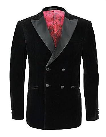Mens Black Soft Velvet Double Breasted Blazer Satin Lapel Suit Jacket Tuxedo