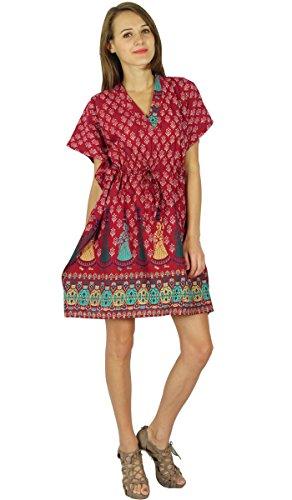 Robe Vêtements Phagun Maxi Vêtement De Nuitlongues En Coton Bohemian Kaftan Maroon Et Beige
