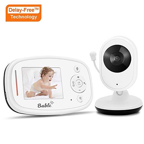 Bable Babyphone X1-Plus mit Delay-Free Technology, 2,4GHz Babyfon mit Kamera, Nachtsichtfunktion, Gegensprechfunktion, Raumtemperatursensor und 4 Einschlaflieder