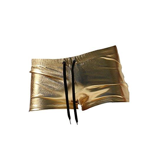 KIKIYA Sexy Mens Jungen Elastic Plain Badehose Strand Hotspring Schnell trocknend Surfen Badehose Hosen Bademode Shorts, Gold, L