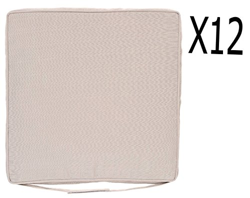 Lot de 12 Galettes chaise coloris taupe - Dim : L 40 x P 40 x H 5 cm -PEGANE-
