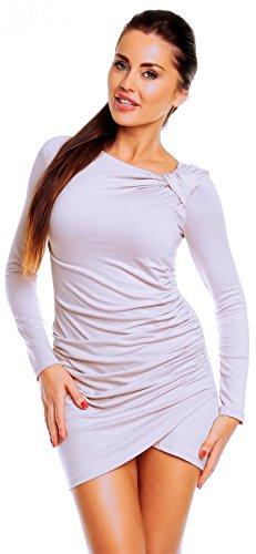 Zeta Ville - Robe courte - manches longues - robe tunique jersey - femme - 941z Blanc