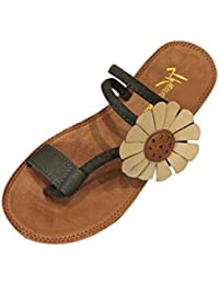 Chanclas Mujer Verano,Moda mujer flor plana talón anti deslizamiento playa zapatos sandalias zapatillas LMMVP