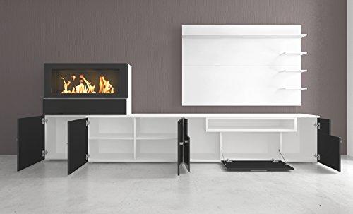 Home innovation- Moderne Wohnwand, TV-Lowboard, Esszimmer mit Kamin Bioethanol, Schrankwand, Wohnzimmer, Kamineinsatz, Verarbeitung weiß Mate und schwarz lackiert, Maße: 290 x 170 x 45 cm Tiefe. - 4