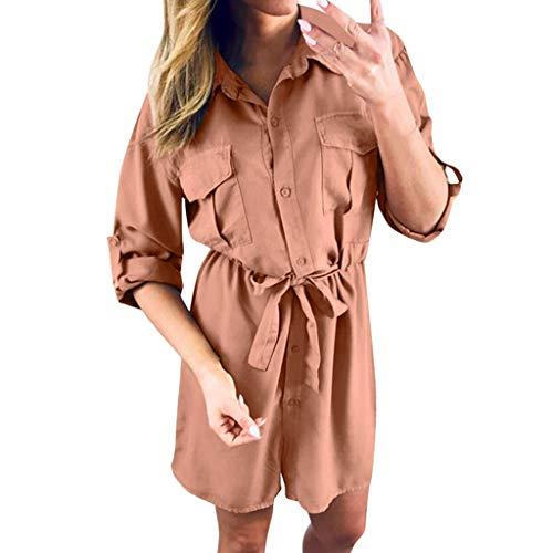 Damen Freizeitkleidung Abendkleid Cocktailkleid,Langer Abschnitt Lässiges Hemdblusenkleid Mode Frauen feste lose geknöpfte Kleider Taschenkleid S-3XL -