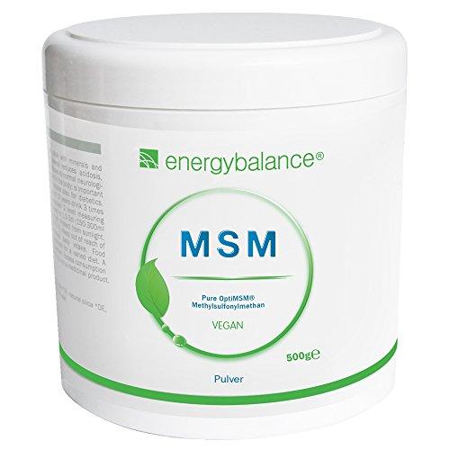 EnergyBalance OptiMSM MSM Pulver 500g - 100% reines Pulver - Methylsulfonylmethan ohne Zusatzstoffe und Zuckerfrei - Natürlich und Hochdosiert - Markenqualität aus der Schweiz