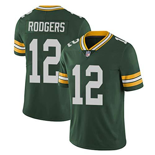 Yujingc NFL Rugby Fan T-Shirts Green Bay Packers Nr. 12 Rodgers American Football Trikot für Herren Rugby Enthusiast Sports Kurzarm T-Shirt,Grün,3XL -
