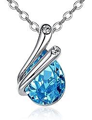 GoSparking Aquamarine azul cristalino 18K de oro blanco plateó el colgante, collar con el cristal austríaco para las mujeres