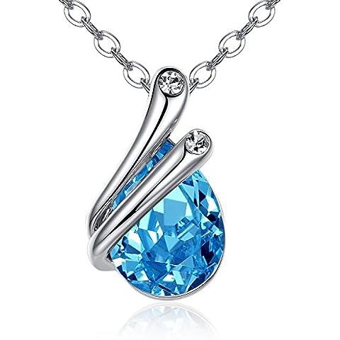 GoSparking Aquamarine azul cristalino 18K de oro blanco plateó el colgante, collar con el cristal austríaco para las