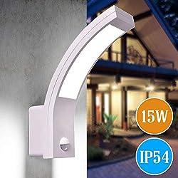 LED Aussenleuchten Bewegungsmelder Wand-leuchte Wandlampe Flurleuchte Fluter 15W weiß modern IP54 PIRIT-WH