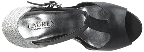 Lauren Ralph Lauren Sheila Espadrille Wedge Sandal Black Soft Burnished Calf