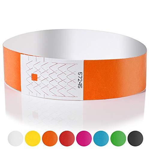 Amazy Einlassbänder (100 Stück | nummeriert) - Wasserfeste, bedruckbare Eintrittsbänder zur Kontrolle und Sicherheit bei Veranstaltungen und Events (Orange)