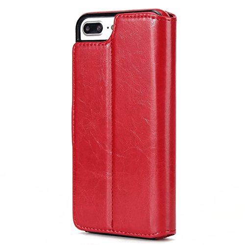 BCIT iPhone 7 Plus Custodia - [Staccabile funzione] Portafoglio 2 in 1 PU di cuoio pelle con supporto carte di credito in Piedi caso Case per iPhone 7 Plus - Blu Rosso
