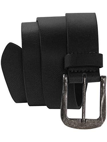 Harrys-Collection Herren Jeans Gürtel mit starker Altsilberschließe, Farben:schwarz, Bundweite:Bundweite 125 = Gesamtlänge 139 -
