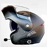 Casque De Moto Ventilation à L'épreuve De La Pluie avec Microphone Casque De Moto Bluetooth Intégral Peut être Transformé en Demi-Casque Anti-buée Peut être Lavé avec De l'eau,MatteBlack-L(59-60cm)