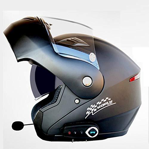 Ysh yshmotocicletta moto caschi bluetooth modulari flip-up bluetooth touring caschi doppia lente nuovi colori,matteblack-xl(61-62cm)