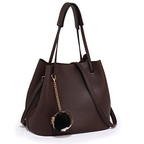 LeahWard Frauen Faux Leder Umhängetasche Tragetaschen Handtaschen für Frauen Schulferien CW190 (Kaffee Hobo Tasche mit Faux Pelz Charm) - Chloe Hobo