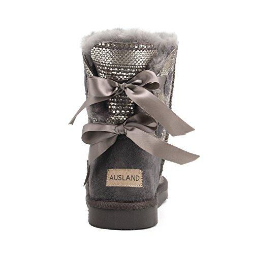 Shenduo - Boots fourrées de mouton femme, Bottes de neige à paillette doublure chaude en laine D5078 Gris