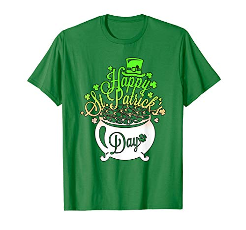 St Patricks Day T-Shirt - Pot of Love Zylinder Gold Treasure -
