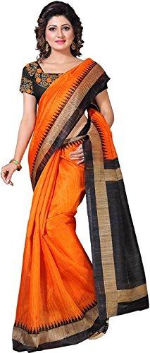 Julee Tassar Silk Saree With Blouse Piece (_Orange_Free Size)