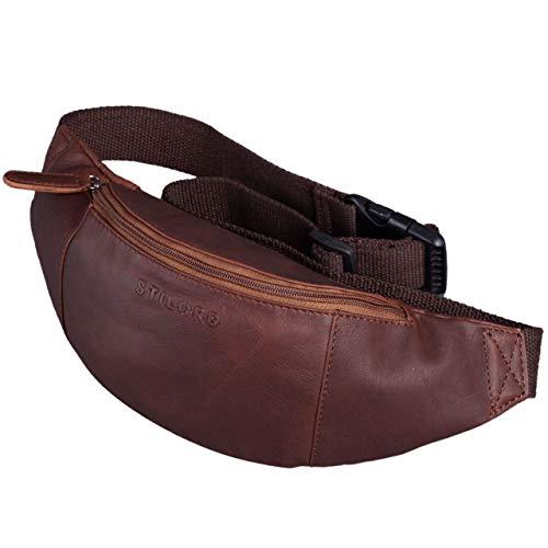 STILORD \'Shawn\' Leder Gürteltasche groß Vintage Bauchtasche Festivaltasche Hüfttasche für Herren und Damen 7 Zoll Reisetasche Voll-Leder, Farbe:Valencia - braun