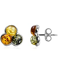 Multicolor Amber Sterling Silver Fashion Charming Stud Earrings