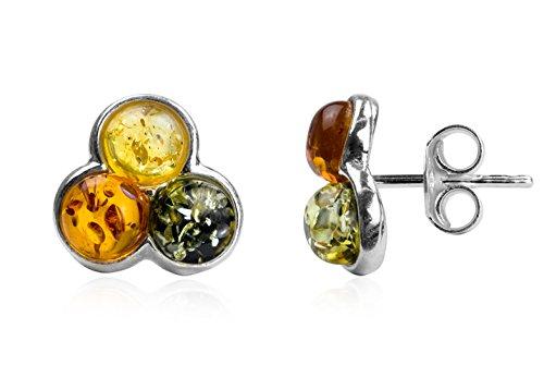 Noda - Orecchini a perno in ambra multicolore e argento sterling