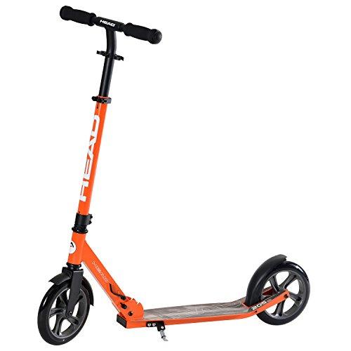 HEAD - Aluminium Scooter inkl. Hinterradbremse I Kickscooter I klappbar I Big Wheel Scooter I Tretroller I Cityroller I höhenverstellbar I Kinder- & Erwachsenen-Scooter I inkl. Ständer - Orange