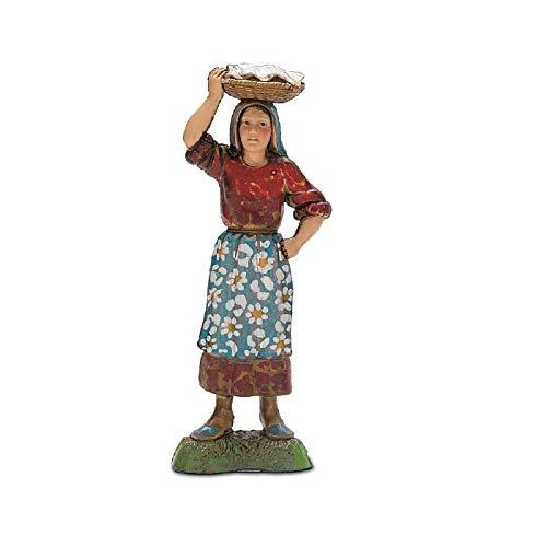 Moranduzzo donna con cesta in testa, 10 cm, multicolore