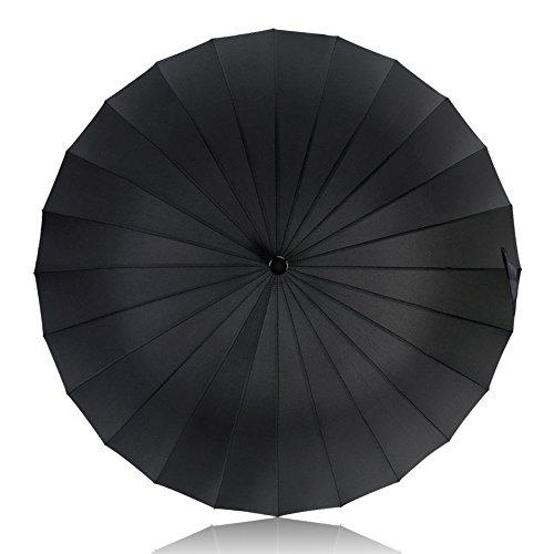 HISEASUN 52inch Paraguas de Golf a Prueba de Viento con 24 Costillas para Mujeres y Hombres Paraguas Grande Clásico Antiviento, Mango de Cuero Recto, Fácil de Llevar(Negro) HISEASUN