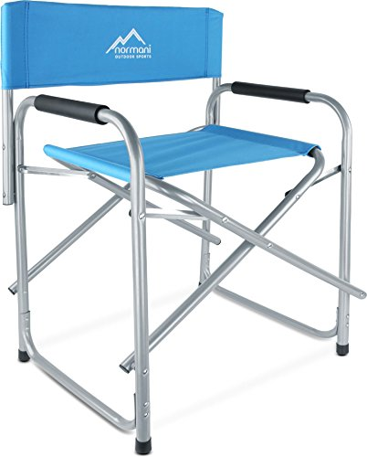 normani Regiestuhl Campingstuhl faltbar bis 150 Kg, Stahl mit gepolsterten Armlehnen Farbe Blue