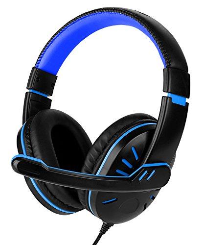 Fosmon PC Gaming della Cuffia, [3.5mm TRSS Jackport] Stereo Audio Wired Headphones con Microfono e Controllo del Volume a Distanza (Nero/Blu)