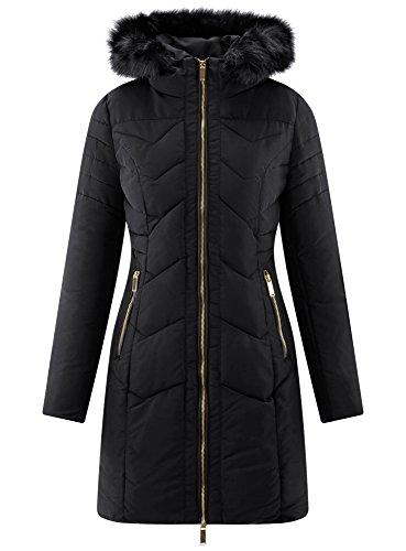 oodji Collection Damen Lange Jacke mit Kapuze Blau (2900N)