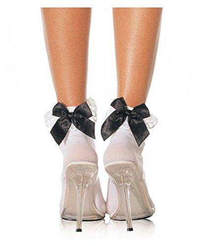 Horror-Shop Weiße Nylonsöckchen mit schwarzer Satin-Schleife für Rockabilly Kleider