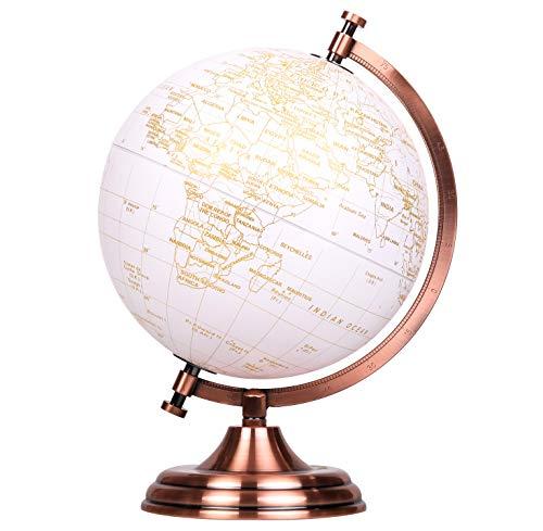 Exerz 20cm Globus Golden Farbe Metallisch - Englische Karte - Pädagogische, Geografische, Moderne Desktop-Dekoration - Metallbogen Und -Basis, In Goldener Farbe Beschichtet.