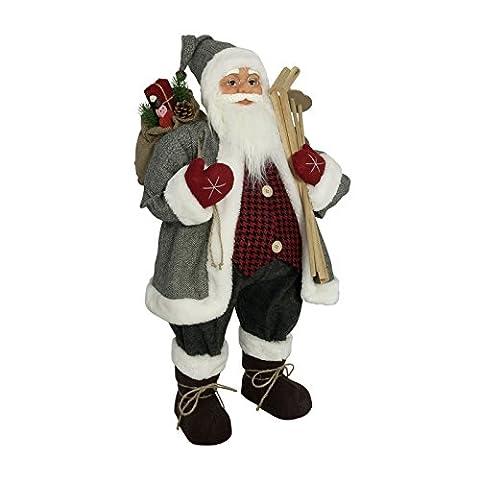 Weihnachtsmann Santa Nikolaus mit schönem Gesicht und vielen Details / Größe ca.80cm / grauer Fellmantel über kariertem Hemd, graue Fellmütze, graue Hose, graue Stiefel,