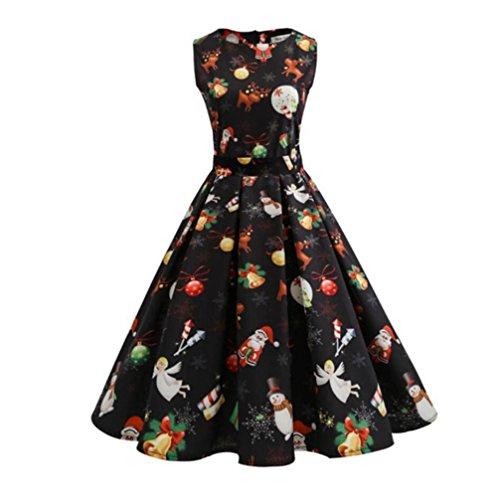 Weihnachtskleid , Dasongff Weihnachtskleid Damen Ärmellos Kleid Vintage Gedrucktes Kleid Swing Kleid für damen Kleid Pullover Partykleid Cocktailkleid Weihnachtenkostüm (SchwarzC, M) (Runder Muster Dots Kragen)