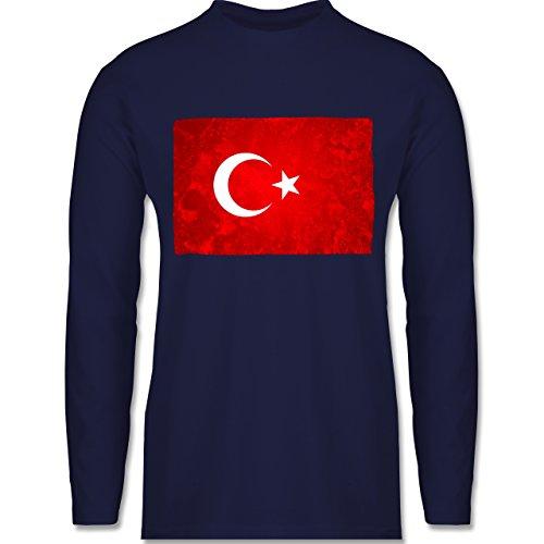 Länder - Flagge Türkei - Longsleeve / langärmeliges T-Shirt für Herren Navy Blau