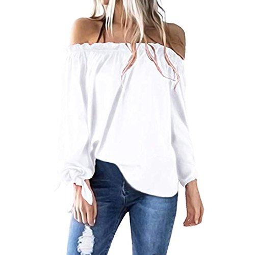 SEWORLD 2018 Damen Mode Sommer Herbst Elegant Beiläufige Boot-Ausschnitt Langarm Kalte Shoulder T-Shirt Tunika Top Bluse(Weiß,EU-44/CN-L)