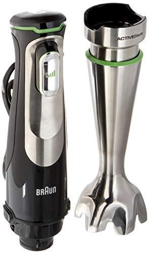 Braun Minipimer 9 MQ9037x Sauce - Batidora de mano eléctrica, tecnología active blade, campana anti-salpicaduras, picadora de 0.5 l y varillas, 1000 w, plástico, negro y plata