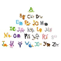 Baby Nursery Animal Alphabet Peel & Stick Kids Wall Decals - Multi-color Educational Wall Art Classroom Stickers for Unisex Nursery Decor
