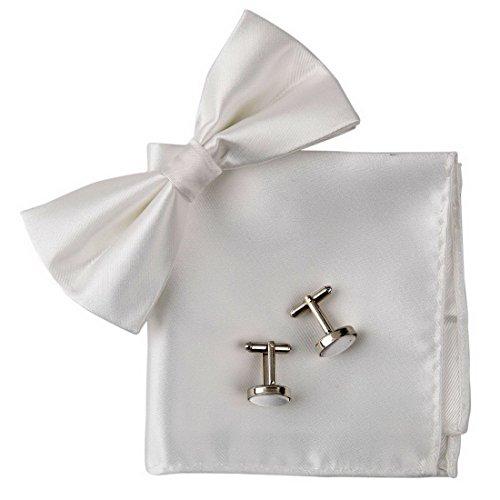 BT2026 White Plain Luxury Silk Vorgebundenen Bowtie Manschettenknopf Taschentuch Zubeh?r Formal Wearing Bowties Von Epoint