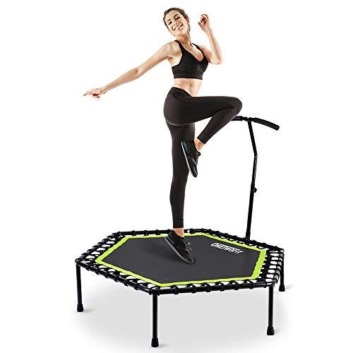 Onetwofit trampolino, trampolino professionale da 122 cm con braccioli regolabili per l'uso all'esterno e all'interno, fitness per adulti, capacità di carico: 150kg ot064