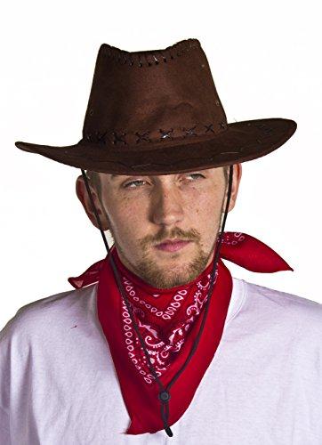 y Hut in künstlichen Wildleder mit einem wunderschönen rot gemusterten Halsband (Texas Ranger Kostüme)