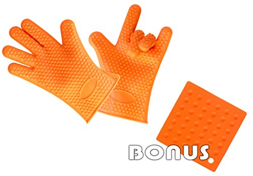 Silicone Gloves For Cooking - Heat Resistant Gloves - FREE Oven Silicone Baking Mat - Silicone Glove Kitchen - Cooking Gloves For Cooking - Gloves BBQ - Oven Gloves (Large, Orange)