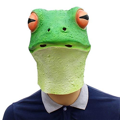 Unbekannt Frosch Masken Latex Tiervollkopf Lustiges Kostüm Grüne Eidechsen Unisexerwachsener,Halloween Maske (Viele Eidechse Kostüm)