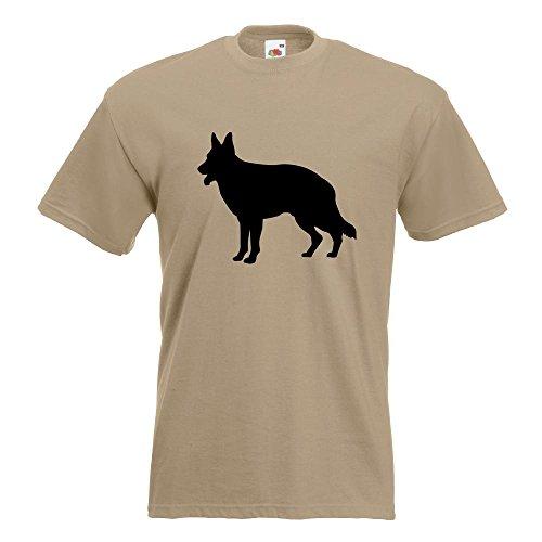 KIWISTAR - Deutscher Schäferhund Hund T-Shirt in 15 verschiedenen Farben - Herren Funshirt bedruckt Design Sprüche Spruch Motive Oberteil Baumwolle Print Größe S M L XL XXL Khaki