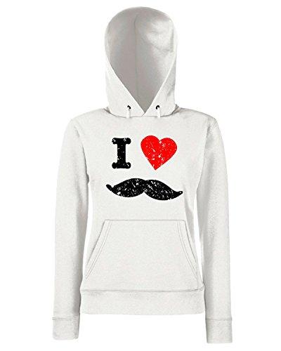 T-Shirtshock - Sweats a capuche Femme T0487 i love baffi Blanc