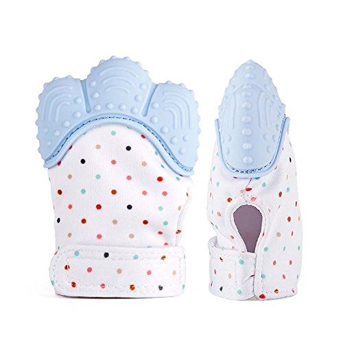 Soyar bunte Baby Zahnen Fäustlinge, beruhigende Pain Relief-Alter 3-12 Monate schützt Babys Hände von Salvia & kauen sichernVerstellbarer Gurt.-Pastell blau